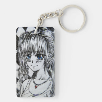 Mangamädchen with blue eyes and red heart chain Double-Sided rectangular acrylic keychain