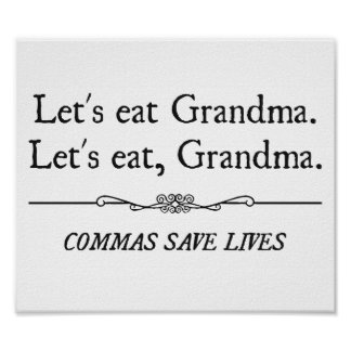 Mangeons la grand-maman que les virgules sauvent