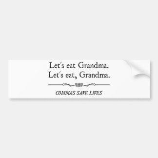 Mangeons la grand-maman que les virgules sauvent autocollant de voiture