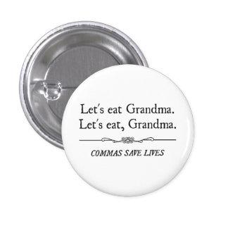 Mangeons la grand-maman que les virgules sauvent l macaron rond 2,50 cm