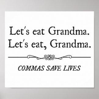 Mangeons la grand-maman que les virgules sauvent l poster