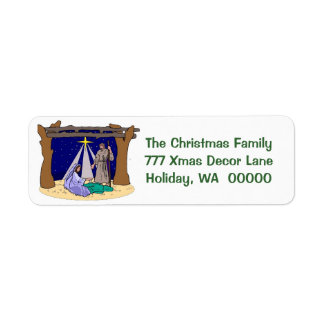 Manger Scene  Christmas Cards Envelope  Labels