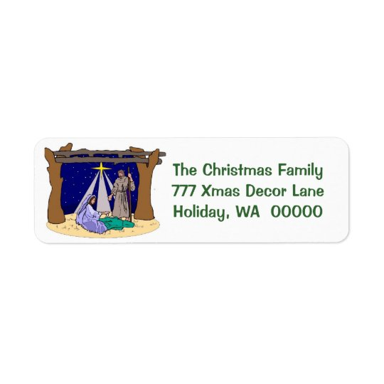 Manger Scene  Christmas Cards Envelope  Labels