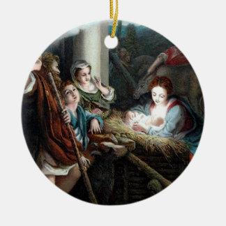 Manger Scene, Round Ceramic Ornament