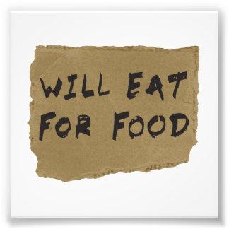 Mangera pour le signe de carton de nourriture impressions photographiques