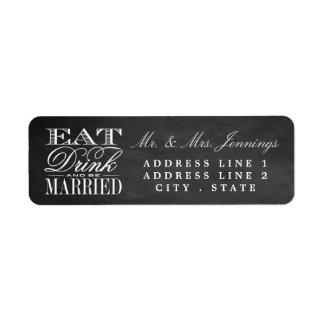 Mangez, boisson et soyez les étiquettes mariés de étiquettes d'adresse retour