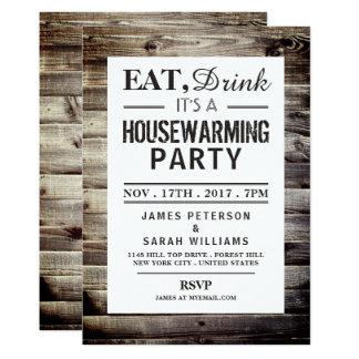 Mangez, buvez le bois rustique de partie de carton d'invitation  12,7 cm x 17,78 cm