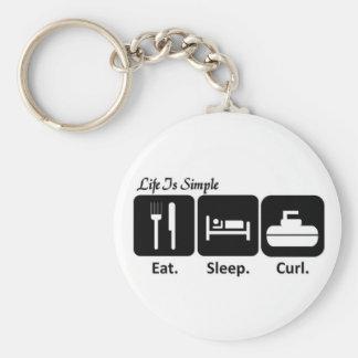 Mangez, dormez, courbez-vous porte-clé rond