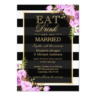 MANGEZ la boisson et soyez mariage floral pourpre Carton D'invitation 12,7 Cm X 17,78 Cm