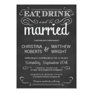 Mangez la boisson soit faire-part de mariage marié