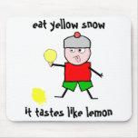 Mangez la neige jaune tapis de souris