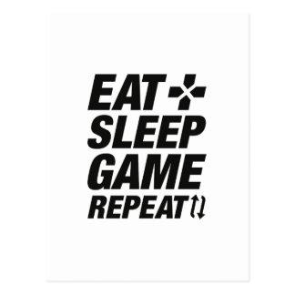 Mangez la répétition de jeu de sommeil cartes postales