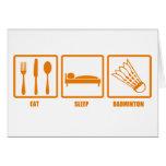 Mangez le badminton de sommeil cartes de vœux