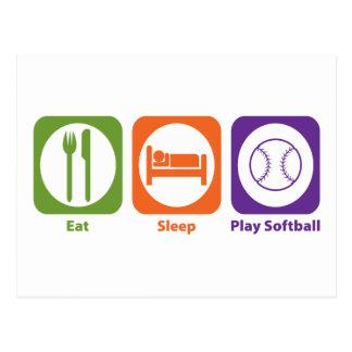 Mangez le base-ball de jeu de sommeil carte postale