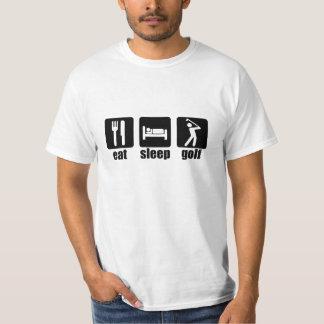 Mangez le golf de sommeil - noir t shirts