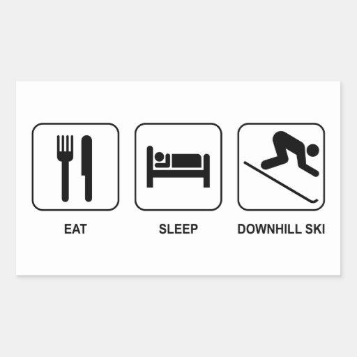 Mangez le ski incliné de sommeil autocollants