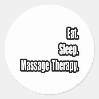 Mangez. Sommeil. Thérapie de massage Adhésifs Ronds