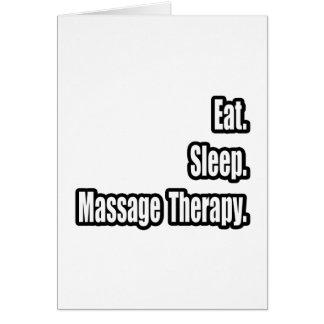 Mangez. Sommeil. Thérapie de massage Cartes De Vœux