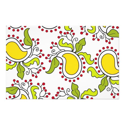 Mango and leaves paisley pattern stationery