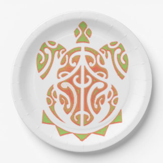 Mango and Lime Turtle Tattoo 9 Inch Paper Plate