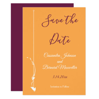 Mango and Purple Wedding | Save the Date Card