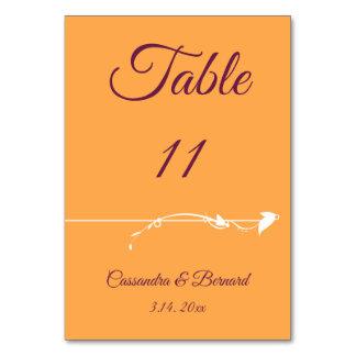 Mango and Purple Wedding | Table Card