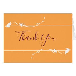 Mango and Purple Wedding | Thank You card