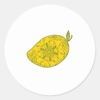 Mango Fruit Mandala Classic Round Sticker