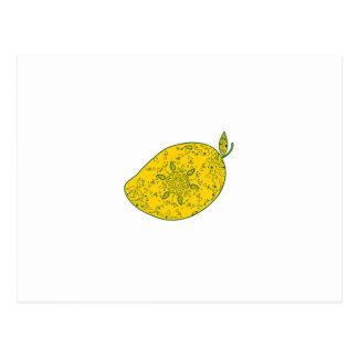 Mango Fruit Mandala Postcard