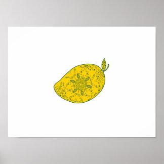Mango Fruit Mandala Poster