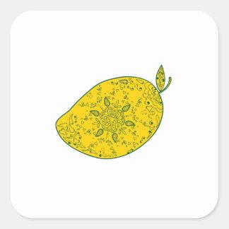 Mango Fruit Mandala Square Sticker