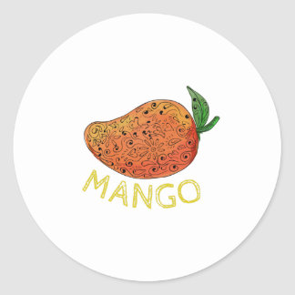 Mango Juicy Fruit Mandala Classic Round Sticker