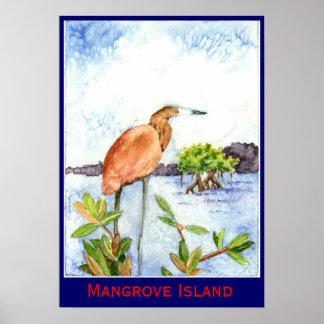 Mangrove Island Heron Poster