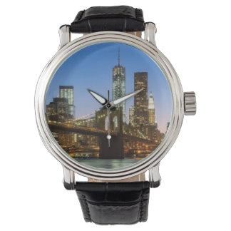Manhattan and Brooklyn Bridge at dusk Wrist Watches