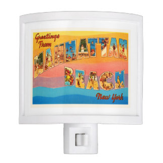 Manhattan Beach New York NY Old Travel Souvenir Nite Light