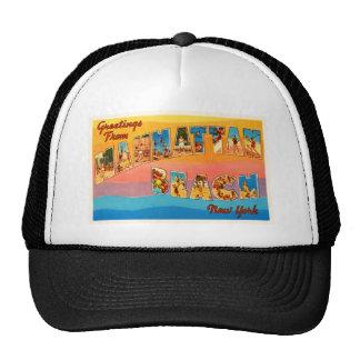 Manhattan Beach New York NY Old Travel Souvenir Trucker Hat