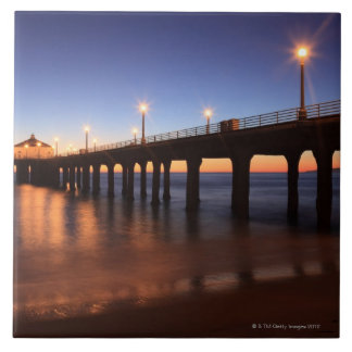 Manhattan Beach Pier at sunset, California Tiles