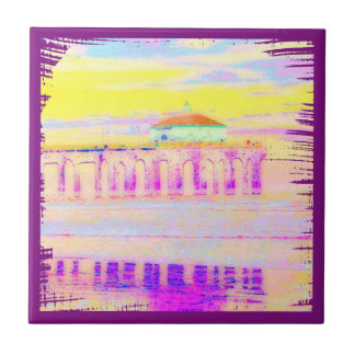 Manhattan Beach Pier California in Pastels Tile