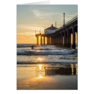 Manhattan Beach Pier Sunset With Surfer Card