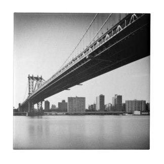 Manhattan Bridge and skyline, New York, US. Tiles