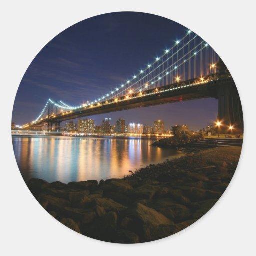Manhattan Bridge at Night Sticker
