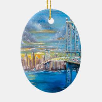 Manhattan Bridge Ceramic Ornament