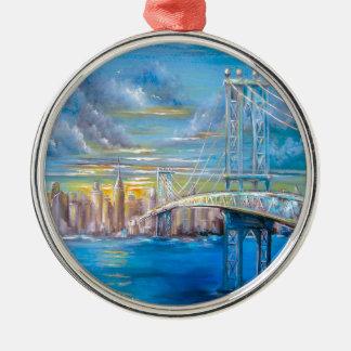 Manhattan Bridge Metal Ornament
