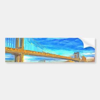 Manhattan Bridge Pop Art Bumper Sticker