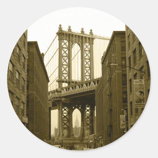 Manhattan Bridge Round Stickers