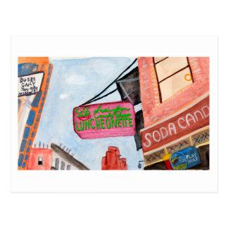 Manhattan Corner Shop Sign Watercolor Postcard