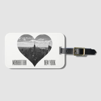 Manhattan Empire State B&W Heart Luggage Tag
