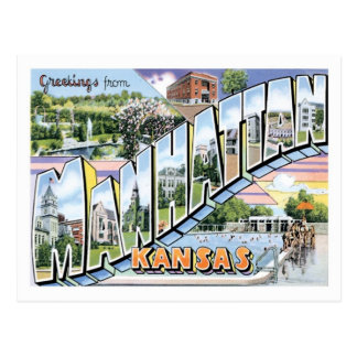 Manhattan Kansas Travel America US City Postcard