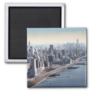 """""""Manhattan Memories"""" New York Watercolor Art Square Magnet"""