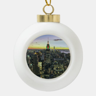Manhattan New York at night Ceramic Ball Ornament